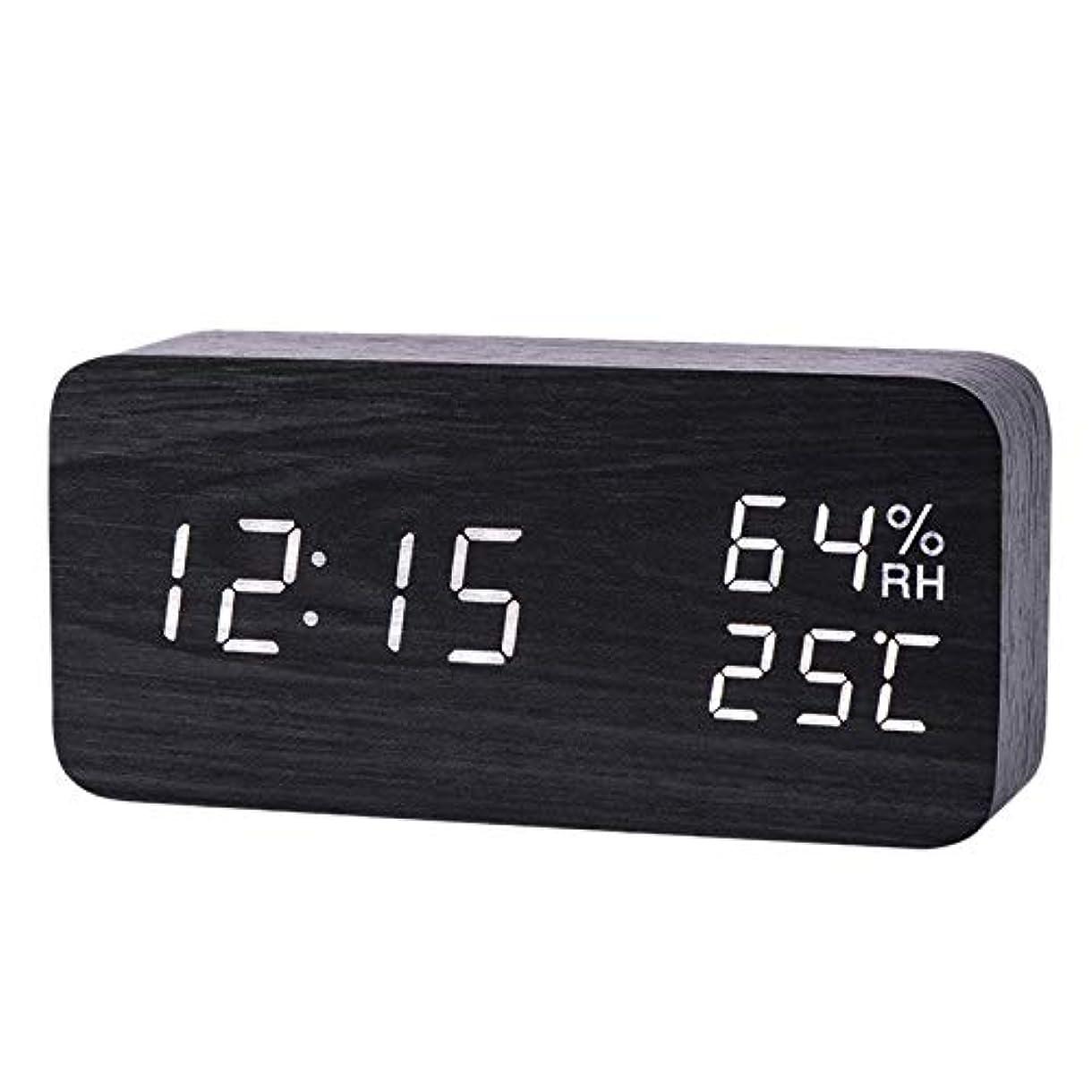 創始者似ている周囲Xigeapg モダンなLed目覚まし時計、温度、湿度、電子デスクトップのデジタル置時計、黒色 + 白色の字幕