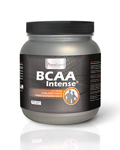 SanaExpert BCAA Intense, Aminosäuren 2:1:1, L-Leucin, L-Valin und L-Isoleucin, Pulver für 38 Portionen Sportgetränk, Pfirsich-Eistee-Geschmack, 500 g