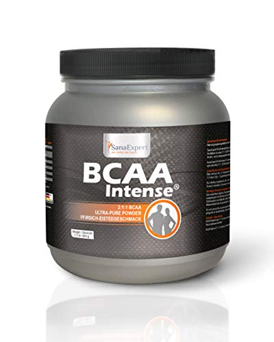 SanaExpert BCAA Intense, L-Leucine, L-Valine and L-Isoleucine amino acids 2:1:1, powder for 38 portions sports drink with peach iced tea flavour, 500 g