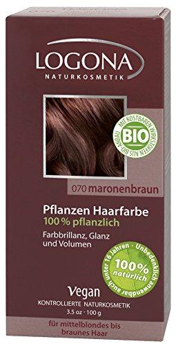 LOGONA Naturkosmetik Coloration Pflanzenhaarfarbe, Pulver - 070 Maronenbraun - Braun, Natürliche & pflegende Haarfärbung (100g)