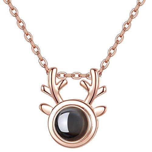Een hert heeft je ketting vrouwelijke sleutelbeen ketting sterling zilver liefde geheugen netwerk rood Ik hou van je hanger Queen's Day naar vriendin te sturen