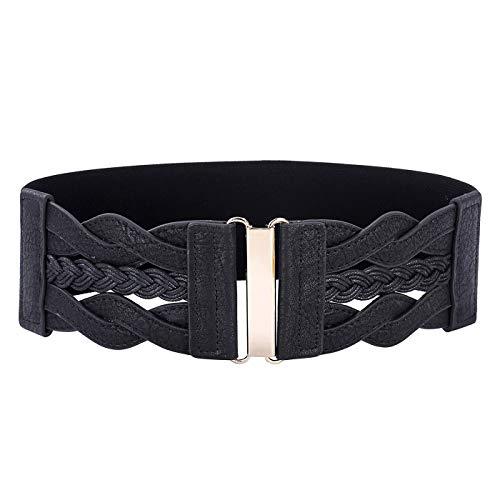 PmseK Gürtel Damen Herren, Hook Womens Belt Lady Formal Casual Outdoor Feminine Occasion Braided Leatherette Leather Accessories NEW Black XL