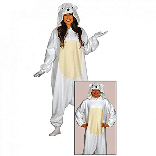 Krause & Sohn Pyjama Eisbär Einheitsgröße Overall weiß Schlafanzug Verkleidung Kostüm Bär