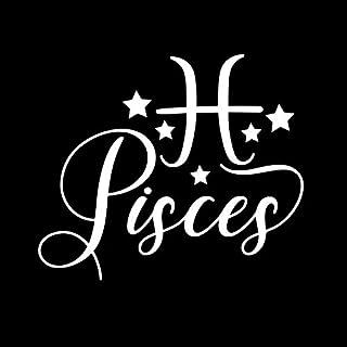 Pisces Zodiac Astology Sign Horoscope Decal Vinyl Sticker|Cars Trucks Vans Walls Laptop| White |5.5 x 4.7 in|DUC1631