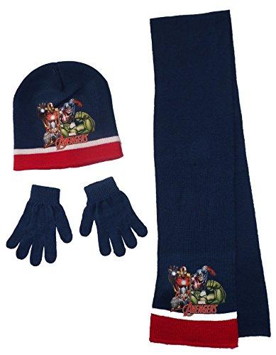Set 3 mutsen sjaal handschoenen kinderen Avengers blauw maat 54