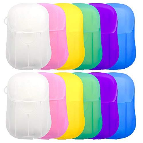 IWILCS 12 Boxen Seife Papier Seifenblätter, Einweg Tragbare Seifen, Mini Einweg Papier Seife, Tragbar Paper Soap mit Kunststoffbox für Unterwegs Reise