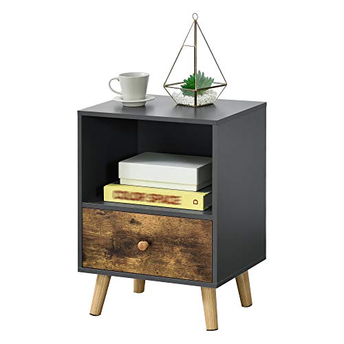 [en.casa] Beistelltisch Sundsvall 40x30x54cm mit Schublade Nachttisch mit Ablagefach Schwarz/Dunkler Holzton