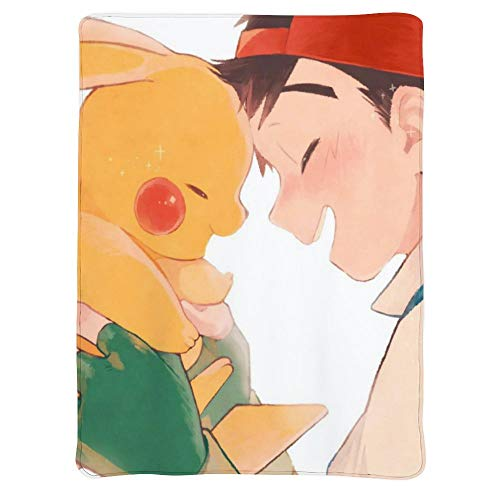 MEW Anime Poke-mon Lightweight Blankets, Pikachu Ash Ketchum, Soft Cozy Warm Cute Flannel Fleece Throw Blanket for Adult and Kids,Living Room Bedroom Study Couch Bed and Beach Travel,50x40 inches