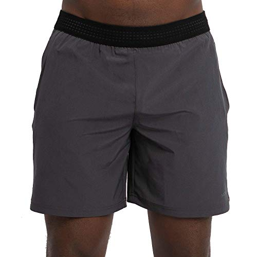 Skora Men's Two in One and Unlined Athletic Running Shorts with Pockets and Zip Back Pocket (Obsidian/Black Large)