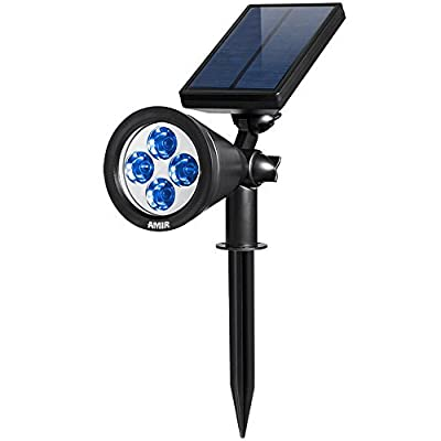 AMIR Solar Spotlights Outdoor Upgraded, Waterproof 4 LED Solar Security Landscape Lights, Adjustable Solar Garden Light with Auto On/Off for Yard Driveway Pathway Pool Patio