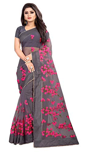 Mohit Creations Designer Net Saree with Embroidery Work (Grey)