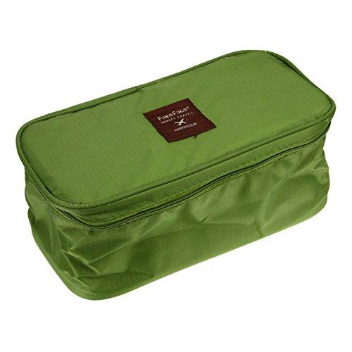 Trousse de Toilette Portable Grande Capacité Sac de Rangement Sac de sous-Vêtement Voyage/Maquillage Oxford Imperméable avec Fermeture Zippé - Vert