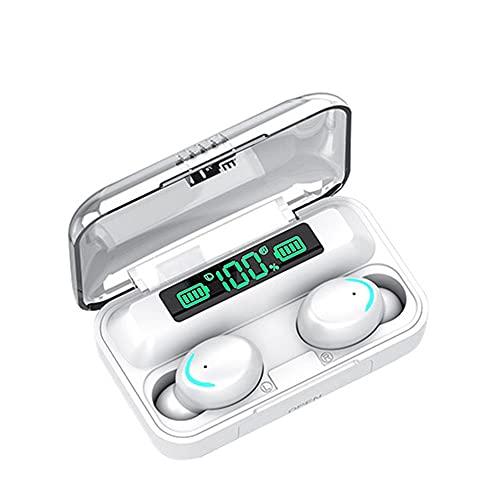 YZQ Auriculares Bluetooth Bluetooth Wireless Portable Power Bank Ruido Cancelación Auriculares Deportes Auriculares Bluetooth In-Ear Gaming Sueño Correr Auriculares,Blanco