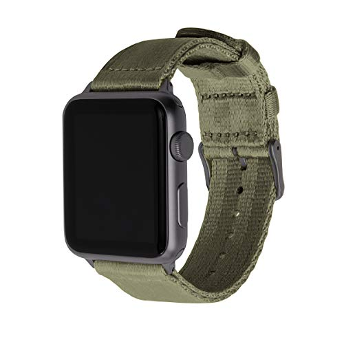 Archer Watch Straps | Cintura di Sicurezza Cinturino Ricambio di Nylon per Apple Watch | Cinturino per Uomo e Donna | Verde Oliva/Grigio Siderale, 42/44mm