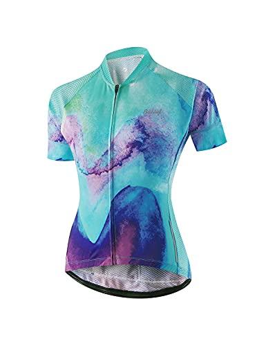 BALEAF Womens Cycling Jersey Short Sleeve Road Bike Shirt Bicycle Biking Tops 4 Rear Pockets UPF50+ Ink Painted M