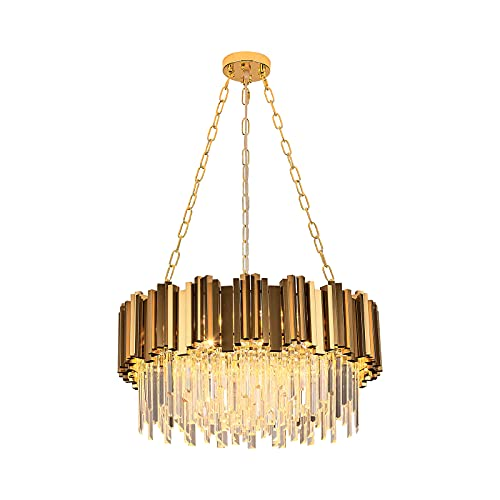 Modern K9 Crystal Pendant Lighting,Round Gold Crystal Chandelier Contemporary Luxury Pendant Ceiling...