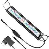 Luz Acuario Luz LED Acuario para Acuarios de 45/70cm, Impermeable IP66, 18W, 700 Lúmenes, 3 Modos de Luz, Intensidad Ajustable, Temporizador, Soporte Extensible, Aleación de Aluminio (Modelo ZL-50)