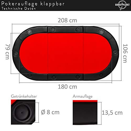 Maxstore Deluxe Faltbare Pokerauflage mit Tasche, 208x106x3 cm, MDF Platte, Gepolsterte Armauflage, 10 Getränkehalter - 5