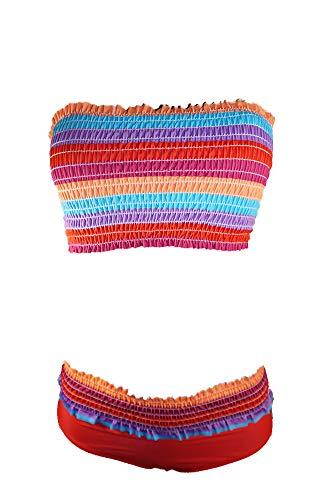 XOXO Women's Two-Piece Bikini Swimsuit (Medium, Red/Multi)