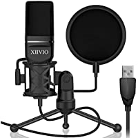 XIIVIO Plug & Play Computer PC Microphone Mic with Tripod Stand and Pop Filter
