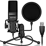USB Gaming Condenser Microphone,XIIVIO Plug&Play Computer PC Microphone Mic with Tripod Stand and Pop Filter for Mac/Windows,Recording Voice Over, Streaming Twitch/Podcasting/YouTube