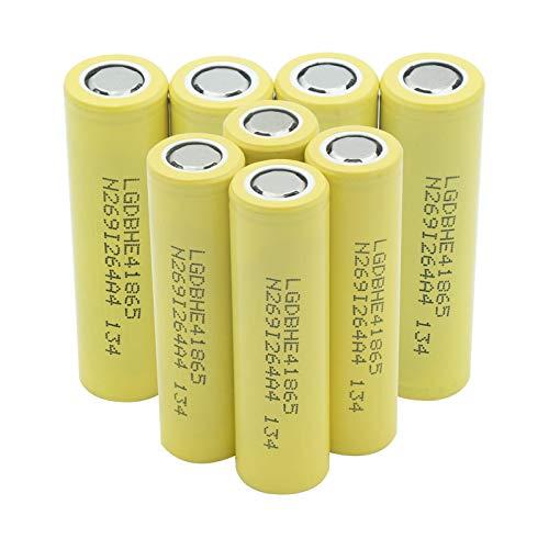 RitzyRose Batería De HE4 18650 3.7v 2500mah 35a, Alto Drenaje Recargable para El Banco del Poder De La Linterna 8Pcs