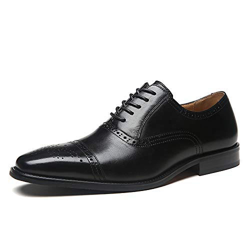 Mens Leather Cap Toe Lace Up Oxford Classic Modern Business Dress Shoes for Men