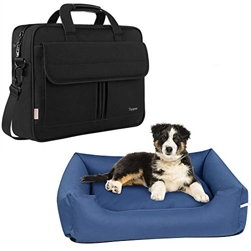 Taygeer Pet Dog Bed for Small Dogs, Removable Washable Cover Sleeping Cusion, Laptop Bag 15.6 Inch, Slim Laptop Briefcase for Men Women, Business Water Resistant Messenger Shoulder Bag with Strap