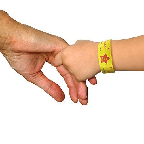 20 Stück Notfall-Armband für Jungen & Mädchen | Wasserfest | SOS Armband | Namensband für mehr Sicherheit Ihrer Kinder im Urlaub| Kids ID