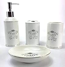 WPM 4 Piece Ceramic Bathroom Accessories Set - White Classic French Provincial Paris - Our Complete Bath Decor Kit Include...