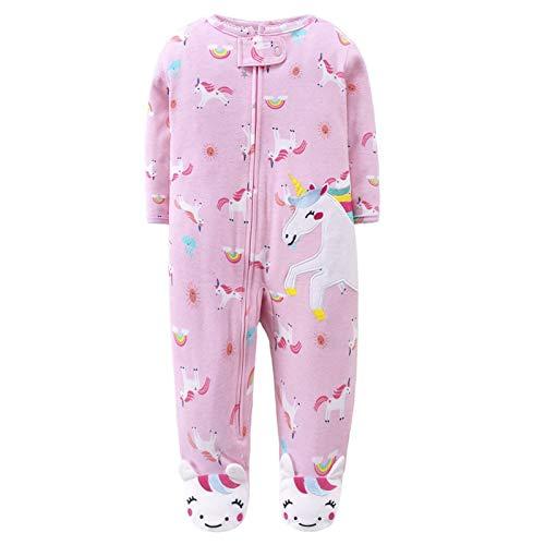 Bebé Mameluco Mono de Algodón Niñas Niños Bodys Manga Larga Peleles para Dormir Comodo Pijama de Recien Nacido, 6-9 Meses