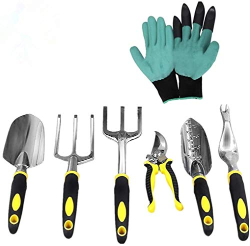 FOUUA Garden Tool Set, 7Pcs Aluminum Heavy Duty Gardening Tools Kit...