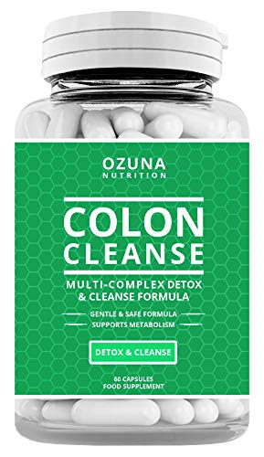 High Strength Natural Colon Cleanse Multi-Complex Detox Capsules | Bowel Cleanse Pills Reduced Constipation, Flatulence & Bloating | Supports Metabolism | One Month Supply
