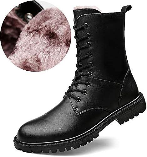 ZyuQ Herrenstiefel Winter Dicke warme Baumwolle Stiefel Leder Stiefel Martin Stiefel extra Größe Pu Lange Stiefel Herrenstiefel