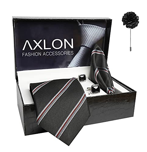 Axlon Mens Plaid Stripped Silk Necktie Gift Set With Pocket Square Cufflinks & Brooch Pin Tie For Men Formal With Leatherite Box (S6RX Free Size)