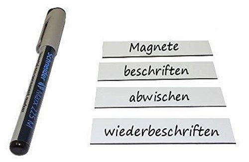 50 Magnetschilder Magnetstreifen Magnet-Etiketten beschreibbar/abwischbar 6 x 10cm in weiß - als Lageretiketten, für Werkstatt, Kühlschrank, Whiteboard