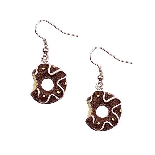 Snykk Süßigkeiten und Gebäck Ohrringe verschiedene Sorten, Farbe:Donut Braun