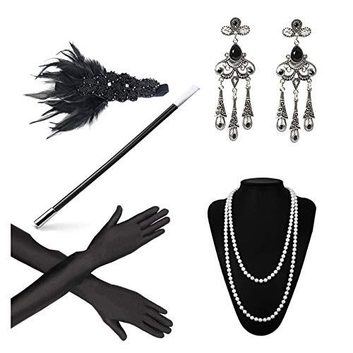 Tinke Disfraz de Aleta de los aos 20 Disfraces Accesorios de Gatsby Diadema de Plumas Vintage con Guantes Negros Collar de Perlas Pendientes Vintage Porta Cigarrillos
