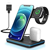 ZHIKE Wireless Charger, 3 in 1 Qi-Certified Wireless Charging Station for Apple iWatch Series 6/5/4/3/2/1, AirPods, Fast Charger Stand Dock Compatible with iPhone 11/XS MAX/XR/XS/8 Plus/Samsung