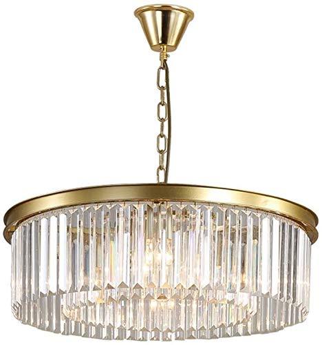 AXWT Chandelier American Minimalist Crystal Pendant Light, Retro Gold Crystal Chandelier LED Ceiling Light Living Room Restaurant Hotel Hanging Lamp Fixture E14*4,D40cm (Color : Chandelier)