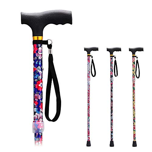 Folding Walking Canes for Women Cane for Elderly Men and Women Aluminum Collapsible Adjustable Walking Stick…