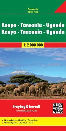 Kenya - Tansania - Uganda - Ruanda, Autokarte 1:2.000.000: Wegenkaart 1:2 000 000 (freytag & berndt Auto + Freizeitkarten)