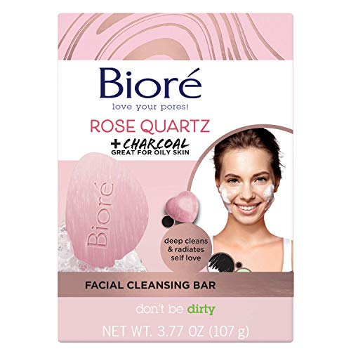 Bioré Rose Quartz With Charcoal Facial Cleansing bar, Exfoliating bar Soap, Daily Face Wash, Oil Free, Dermatologist Tested, Cruelty Free, Vegan Friendly, Paraben Free