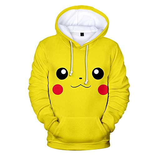 Unisexe Sweat Capuche Pokémon Detective Pikachu 3D Sweat-Shirt à Capuche Manches Longues Sweat-Shirts pour Homme Femme Adolescent Enfants Garçon Fille,B,XXXXL