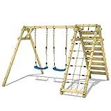 WICKEY Struttura altalena Smart Cliff per bambini Altalena 2 posti con modulo arrampicata per il giardino