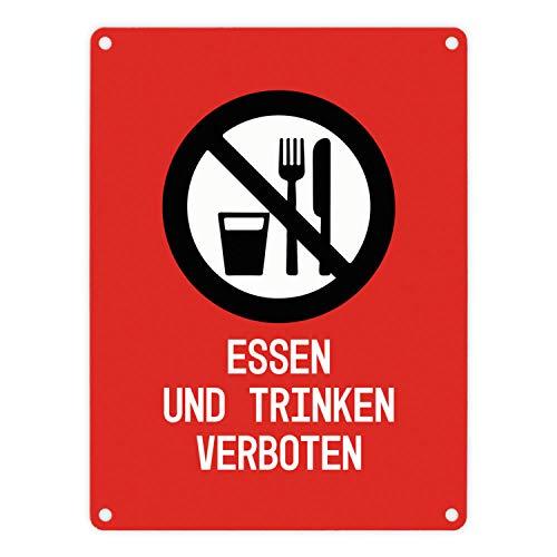 trendaffe - Essen und Trinken verboten Warn- und Hinweisschild in Rot mit Piktogramm