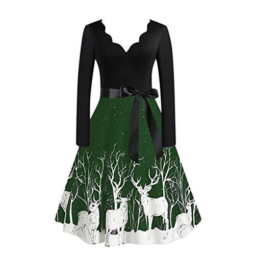OPIAL Damen Weihnachtskleid Vintage Langarm Weihnachten Frauen Geschenke 50er Jahre...