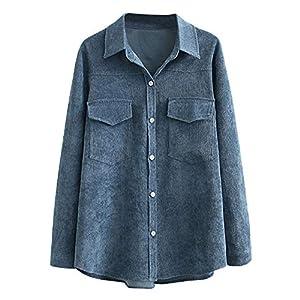Women's Corduroy Shirts Button Down Blouse Coat Plus Size