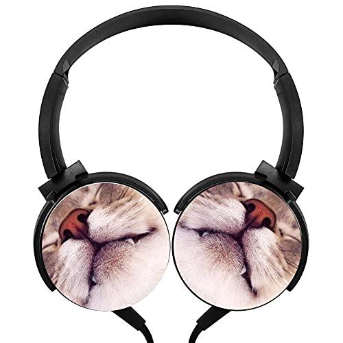 Auriculares de gato de animales ligeros con cable auriculares con micrófono sobre la oreja para correr auriculares estéreo para oficina smartphone y TV de 3,5 mm