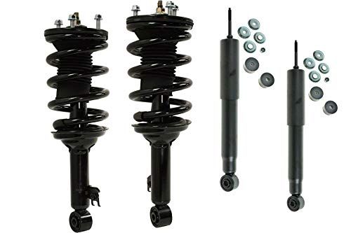 DTA 70188 - Full Set 2 Front Complete Strut Assemblies With Springs and Mounts + 2 Rear Shocks Compatible with Toyota Tacoma Base Model 2.7L RWD Only - Will NOT Fit 4WD or Prerunner